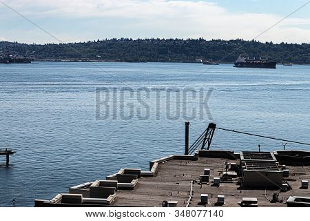 Industrial Rooftops Overlooking The Puget Sound In Spring