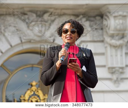 San Francisco, Ca - Jan 18, 2020: Kimberly Ellis, Executive Chair Of Emerge California, Speaking At