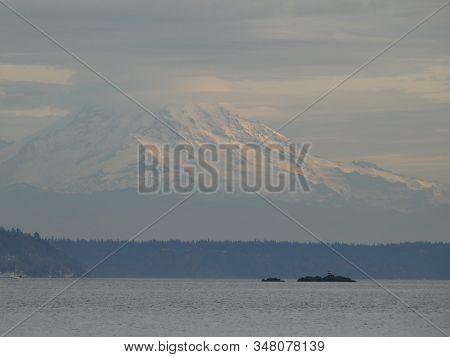Veiw Of Rainier From Across The Puget Sound