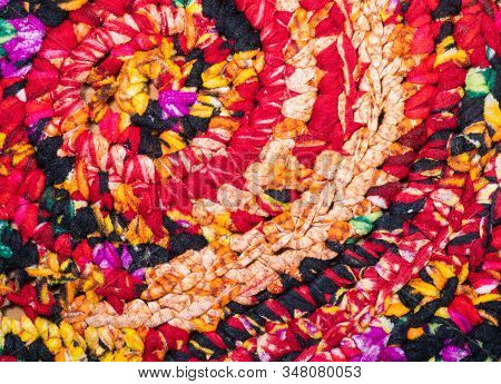 Multicoloured Textile, Close Up View. Colourful Fabric, An Abstract Background. Multicolour Abstract