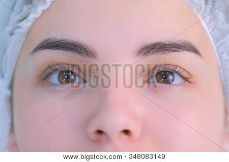 Womans Lashes Before Beauty Procedure Of Eyelash Lifting And Laminating, Closeup Face View. Young Wo