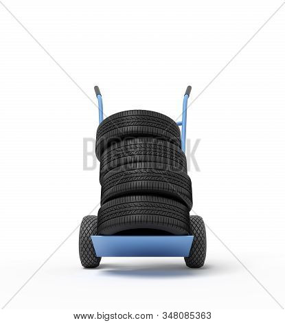 3d Rendering Of Black Vehicle Tires On A Hand Truck