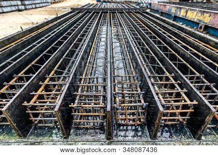Form For Pouring Reinforced Concrete Piles. Steel Reinforcement Is Laid In The Lodgement.