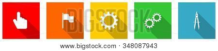 Set of colorful web flat design icons,  hand, flag, cogwheel and compass buttons for webdesign and mobile applications