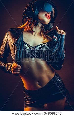 High Fashion Model Woman In Underwear In Colorful Bright Lights Posing, Portrait Of A Beautiful Girl