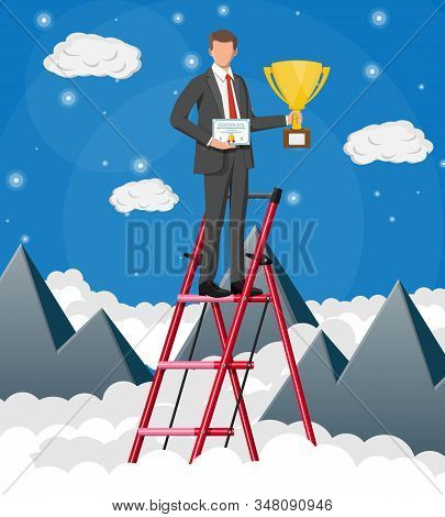 Businessman Holding Trophy, Showing Award Certificate Celebrates His Victory. Mountains, Cloud, Sky.