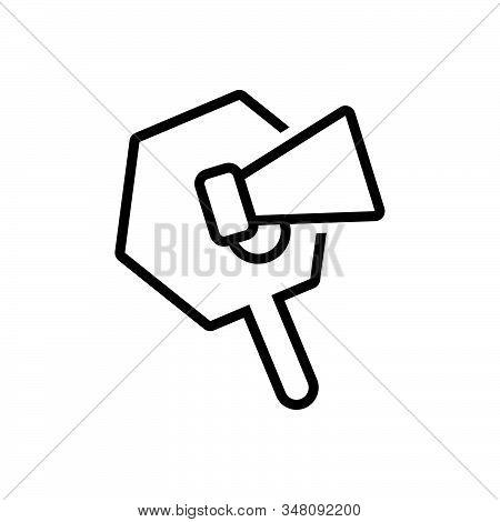 Black Line Icon For Promotion Loudspeaker Megaphone Announce Publicity Marketing Announcement Speake
