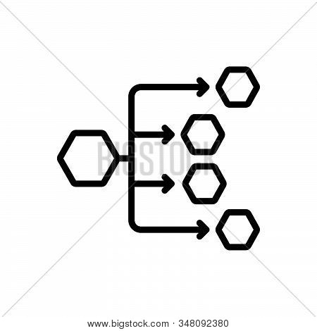 Black Line Icon For Distribution-channels Distribution Channels Connections Preferred Internet Affil