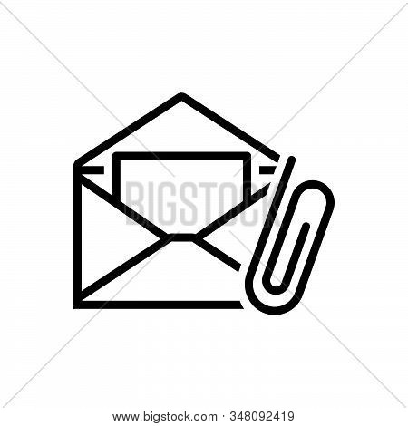 Black Line Icon For E-mail-attachment Attach Clip Communication Correspondence Envelope Message Pape