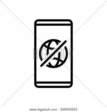 Black Line Icon For Offline Connection Technology Transmit Transmission Wireless Prohibition Restric