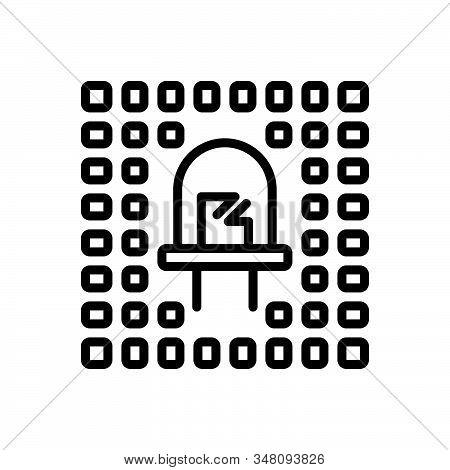 Black Line Icon For Led Optic Bright Bulb Cathod Electronic Refractive Technology Lightbulb Illumina
