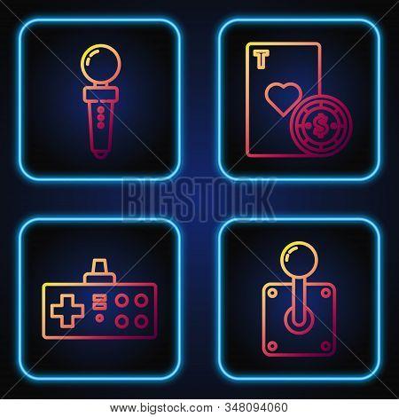 Set Line Joystick For Arcade Machine, Gamepad, Joystick For Arcade Machine And Casino Chip And Playi