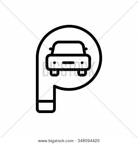 Black Line Icon For Parking-sign Parking Sign Transport Traffic Roadsign