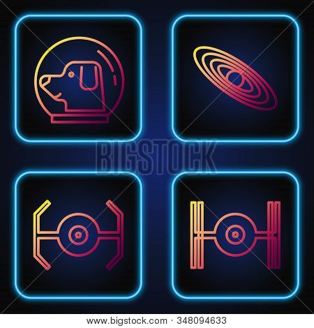 Set Line Cosmic Ship, Cosmic Ship, Dog In Astronaut Helmet And Planet. Gradient Color Icons. Vector