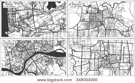 Pekanbaru, Palembang, Padang and Medan Indonesia City Maps in Black and White Color. Outline Maps.