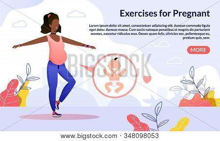 Fitness Club, Courses For Pregnant Trendy Flat Vector Web Banner, Landing Page Template. Pregnant Af
