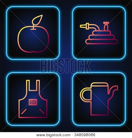 Set Line Watering Can, Kitchen Apron, Apple And Garden Hose Or Fire Hose. Gradient Color Icons. Vect