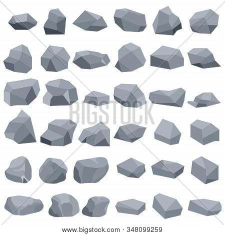 Stones, A Large Set Of Gray Stones Isolated On A White Background. Vector, Cartoon Illustration Of A