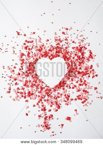 Colored Sugar Sprinkles Heart, Sugar Sprinkle Dots And Hearts, Decoration For Cake And Bakery, Heart