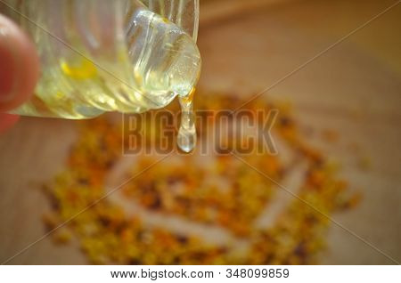 May Honey Pours From A Jar In The Background Propolis