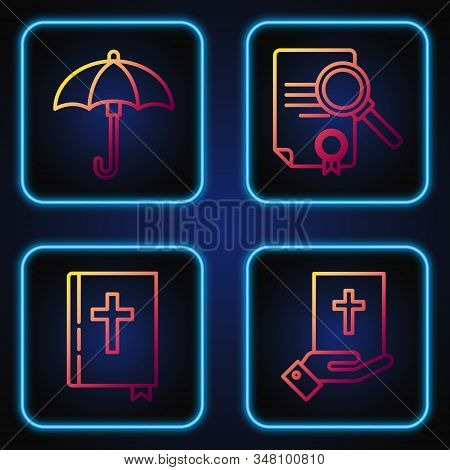 Set Line Oath On The Holy Bible, Holy Bible Book, Umbrella And Document With Search. Gradient Color
