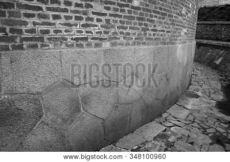 Polygonal foundation masonry. The masonry is similar to the abandoned cities of South America.Built in the Russian Empire in the 19th c. The mystery of history. The Kiev Fortress. In Kiev,Ukraine