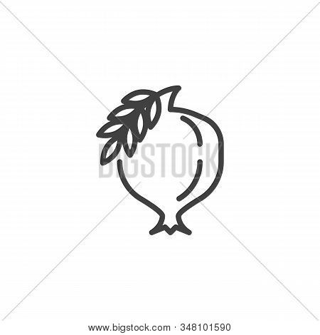 Pomegranate With Leaf Line Icon. Linear Style Sign For Mobile Concept And Web Design. Healthy Fruit