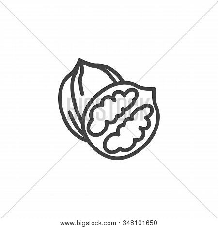 Walnut Nut Line Icon. Linear Style Sign For Mobile Concept And Web Design. Whole And Peeled Walnut O