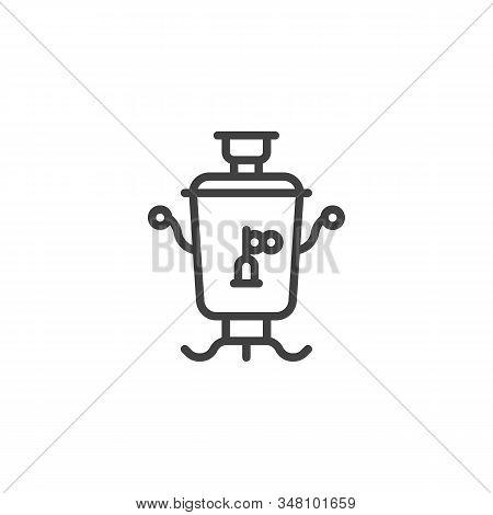 Azerbaijan Tea Samovar Line Icon. Linear Style Sign For Mobile Concept And Web Design. Traditional R