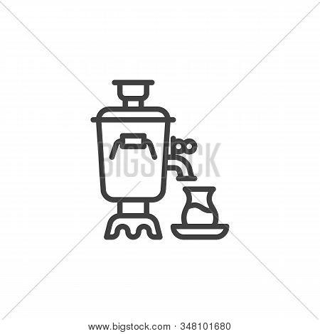 Traditional Tea Samovar Line Icon. Linear Style Sign For Mobile Concept And Web Design. Azerbaijan S
