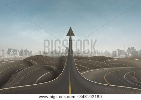 Clear Strategy Concept As An Arrow Rising Upward With Success Going Over Confused Paths For Achievin