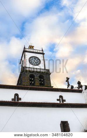The Outdoor Facade Of St. Sebastian Church, Igreja Matriz De Sao Sebastiao, In Ponta Delgada, Azores