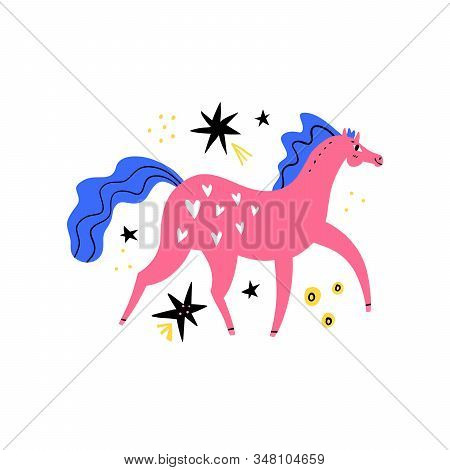 Dressage Horse. Pink Mare Walking On Abstract Background. Equestrian Sport Flat Hand Drawn Color Vec