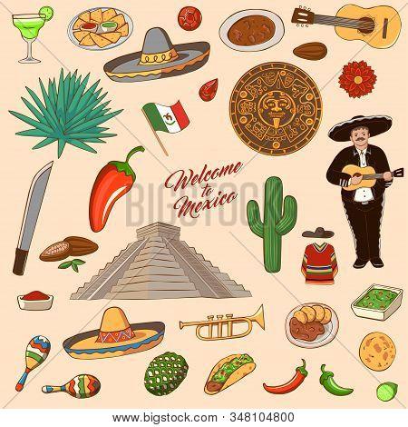 Mexico Symbols. Set Of Icons And Landmarks Mexico: Sambrero, Tequila, Cactus, Aztec, Chili, Flag, Ma