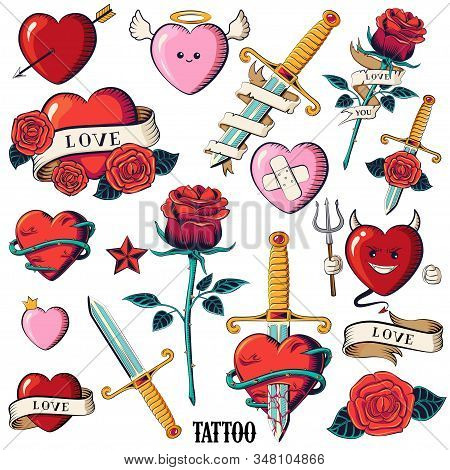 Set Of Hearts, Roses And Knifes. Isolated Tattoo Hearts