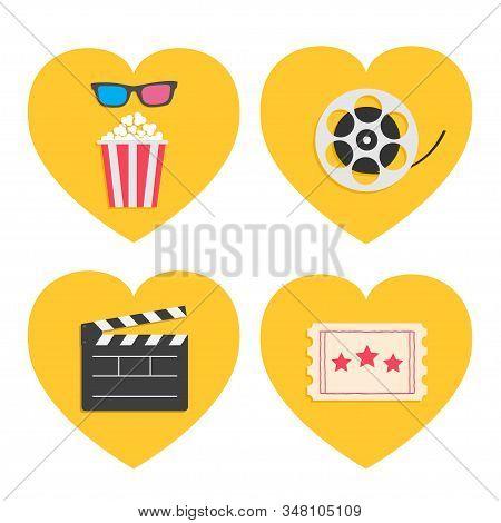 Pop Corn Heart Icon Set. 3d Glasses. Movie Reel. Open Clapper Board. Popcorn Box Package. Ticket Adm