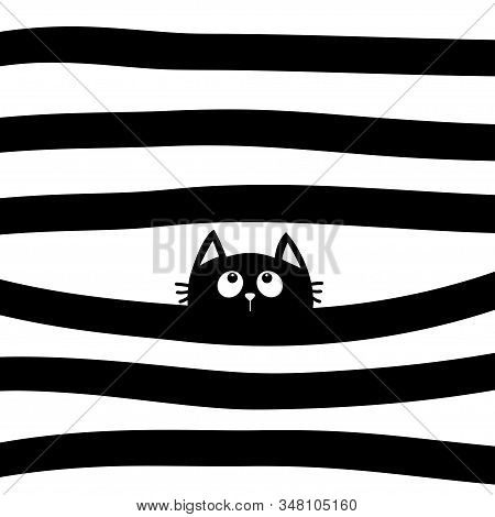Black Cat Kitten Face Head Looking Up. Scandinavian Pattern. Black And White Abstract Geometric Back