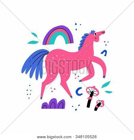 Happy Walking Horse. Stallion Galloping, Jumping, Vaulting On Background With Rainbow And Mushroom.