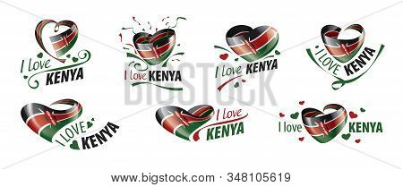National Flag Of The Kenya In The Shape Of A Heart And The Inscription I Love Kenya. Vector Illustra