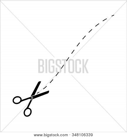 Scissors With Cut Lines Icon Vector. Paper Cut Icon With Dotted Line. Vector Scissors With Cut Lines