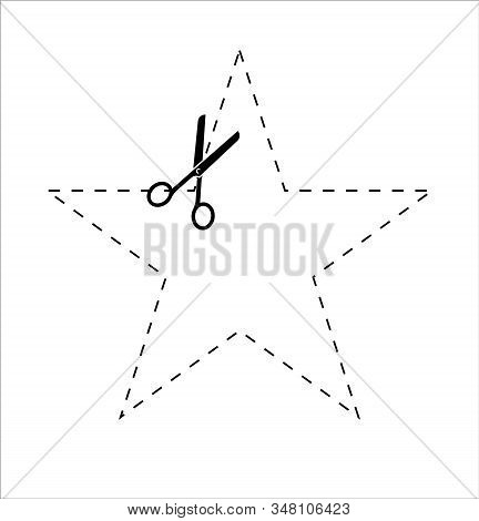 Shape Star To Cut Off Using Scissors. Paper Cut Icon With Dotted Line. Vector Scissors With Cut Line