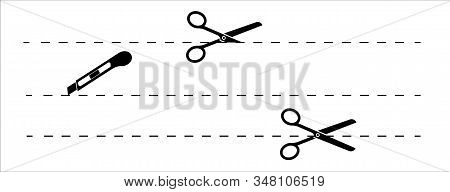 Set Of Cut Lines Scissors, Editable Stroke. Easy To Modify. Paper Cut Icon With Dotted Line. Vector