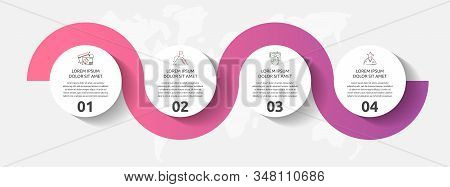 Vector Template Circle Infographics. Business Concept With 4 Options And Parts. Four Steps For Conte