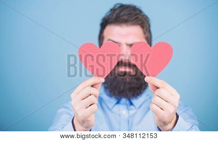 Making Man Feel Loved. Man Bearded Hipster With Heart Valentine Card. Celebrate Love. Guy Attractive