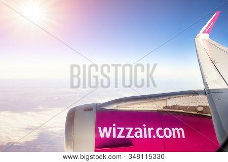 Vienna, Austria - January 03, 2020: Wizzair Lowcost Economy Flight Company Airbus Plane Flying Over