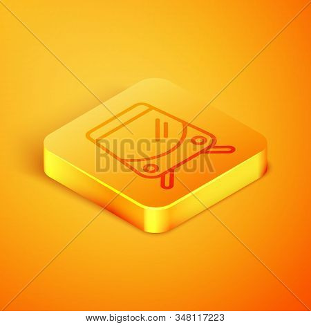 Isometric Line Tram And Railway Icon Isolated On Orange Background. Public Transportation Symbol. Or