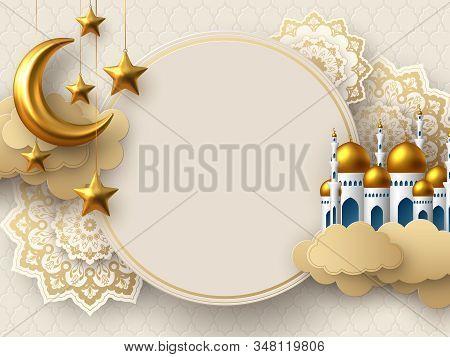 Ramadan Kareem Vector Card With 3d Golden Metal Crescent, Stars, Paper Cut Clouds, Mosque And Flower