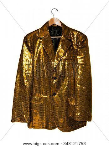 Yellow sequin jacket on hanger