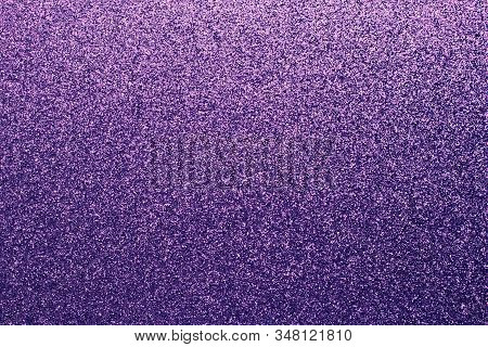 Grainy Purple Shiny Background. Fabric Sparkle, Texture. Gradient On Textile, Clothes. Glitter Wall.