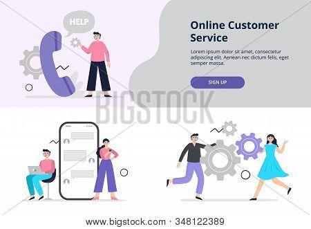 Two Original Illustrations On Online Customer Service Theme. Men And Women Answer Phone Calls, Chatt